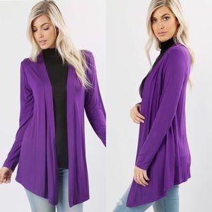 Sweaters - Purple Open Front Cardigan